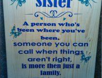 Mijn zus tekstbord
